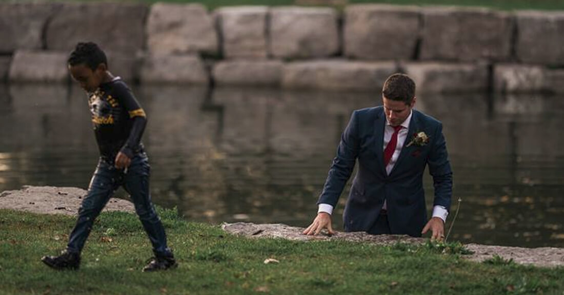 little boy saved by heroic groom