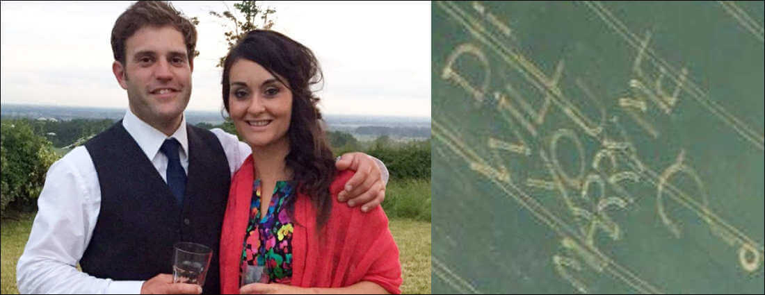 A charmer farmer from popped the question to his Northamptonshire girlfriend in an aeroplane