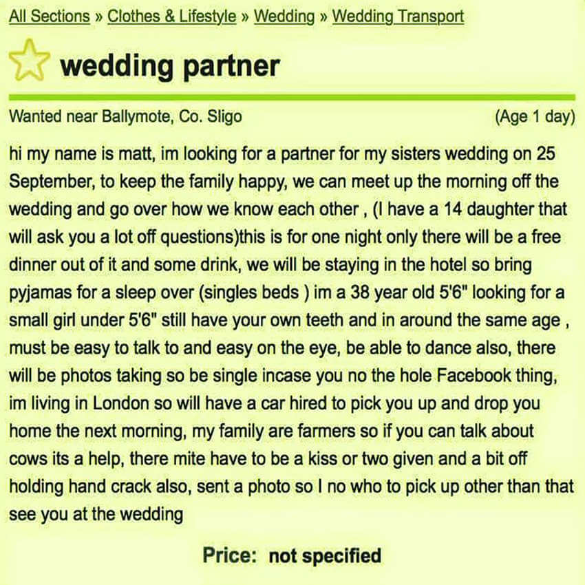 Fancy a FREE Wedding in Sligo - then check out this Irish Charmer's Advert